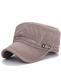 RNFENQS Men's Vintage Cotton Army Cap Flat Top Peaked Military Cadet Hat