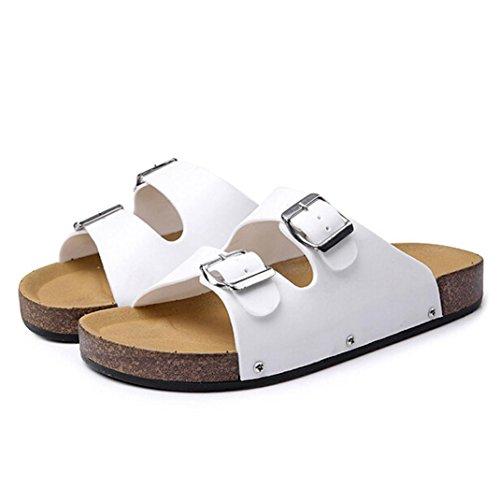 Inkach Fashion Mens Summer Sandals Flip-Flops Bath Slippers Leather Casual Beach Flat Shoes White qbjzm