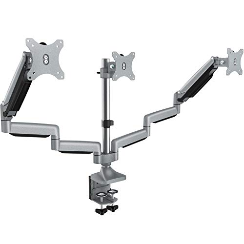 Triple Monitor Stand - Adjustable 3 Arm Gas Spring Computer Desk Mount, Aluminum Full Motion Articulating with Clamp, Grommet Mounting Base for 13-32 Inch LED LCD ()