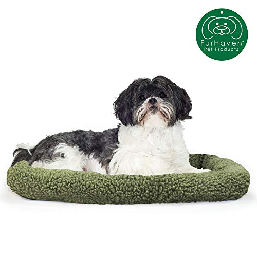 Furhaven Pet Dog Bed Kennel Pad | Faux Lambswool & Sherpa Crate or Kennel Mat Bolster Pet Bed for Dogs & Cats, Sage, Small