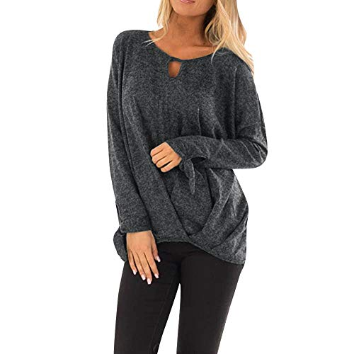 LEXUPA Women's Casual Solid Long Sleeve Knot Pullover Shirt BlouseTops(Small,Gray)