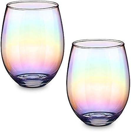 CNNIK Vasos de Vaso iridiscentes, para Agua, Jugo, Whisky, cóctel, 550 ml (Juego de 2)