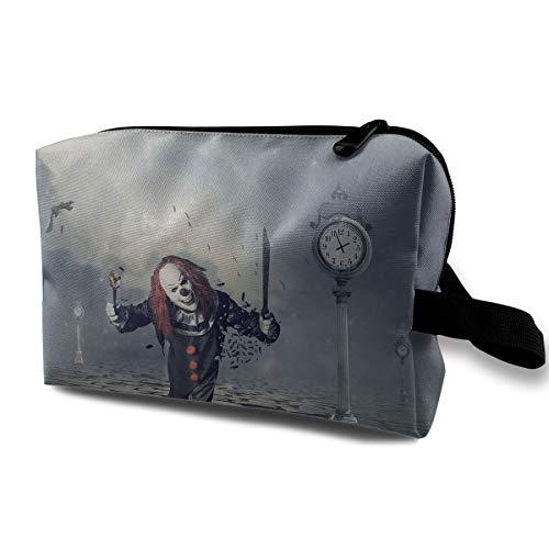 With Wristlet Cosmetic Bags Evil Clowns Travel Portable Makeup Bag Zipper Wallet Hangbag ()