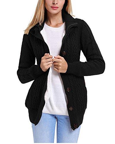 trecce cappuccio Cardigan maglione a in giù Fengshang pile G la pulsante con cappotto Donna Black gtA4X
