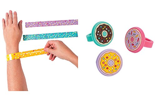Donut Party Rings and Donut Party Sprinkles Slap Bracelets 24 pcs - for 12 (Donut Party Favors)
