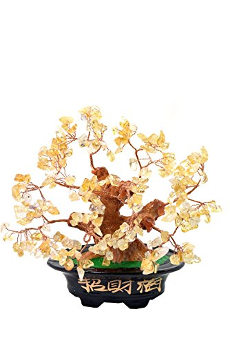 Feng Shui money tree 7 inch Natural Quartz Crystal Money Tree Bonsai Style Decoration for Wealth and Luck (Orange Quartz Crystal)