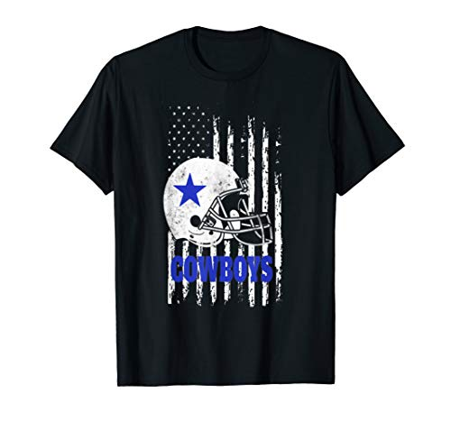 Cowboys football Dallas Fans USA Flag T-Shirt ()