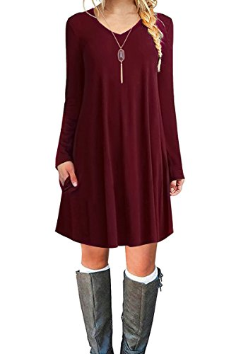 Jouica Women's Casual Swing Plain T-Shirt Long Sleeves Dresses (Wine Red M)