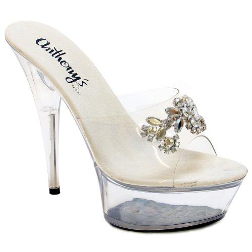 Exotic Dancer Cheap Hot Ladies Showgirl Shoe Rhinestone flower slip on 6
