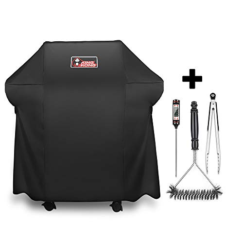 Kingkong Gas Grill Cover 7138 Cover for Weber Spirit 200 and Spirit II 200 Series 2 Burner Gas Grill Including Grill Brush, Tongs and Thermometer