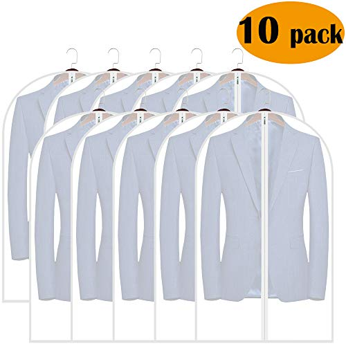 Adalite Garment Bag, Garment Suit Cover Bag Protection for Clothes Storage with Full Zipper 40-inch, Pack of 10 (40' Suit Garment Bag)