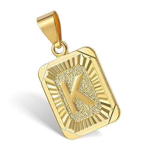 Hermah Gold Plated Charm Pendant Initital Capital Letter K Mens Womens Pendant Square Charm Fashion