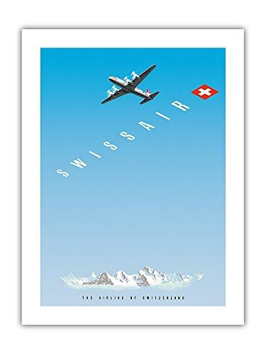 Pacifica Island Art Swiss Alps - Swissair DC-4 - The Airline of Switzerland - Vintage Airline Travel Poster by Hermann Eidenbenz c.1948 - Premium 290gsm Giclée Art Print 18in x 24in