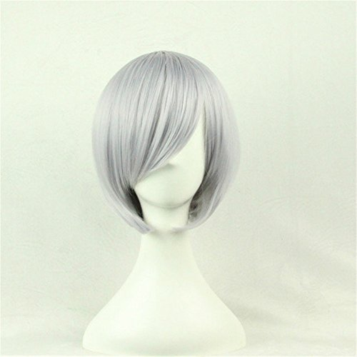 - Gray Straight Short Bob Hair Wigs With Inclined Bangs Synthetic Heat Resistant None Lace Wig Colorful Cosplay Daily Party Wig Natural As Real Hair