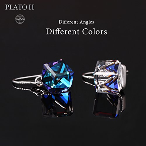 Swarovski Element Earrings Cube Earrings Color Changing Crystals Heart Of Ocean Blue Drop Dangle Earrings, Birthday Birthstone Jewelry Gifts for Women by PLATO H (Image #2)