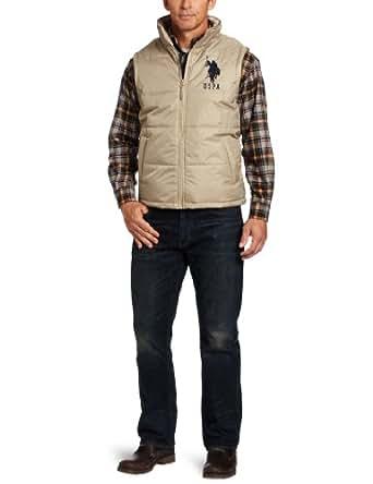 U.S. Polo Assn. Men's Solid Vest With Big Pony, Thompson Khaki, Small