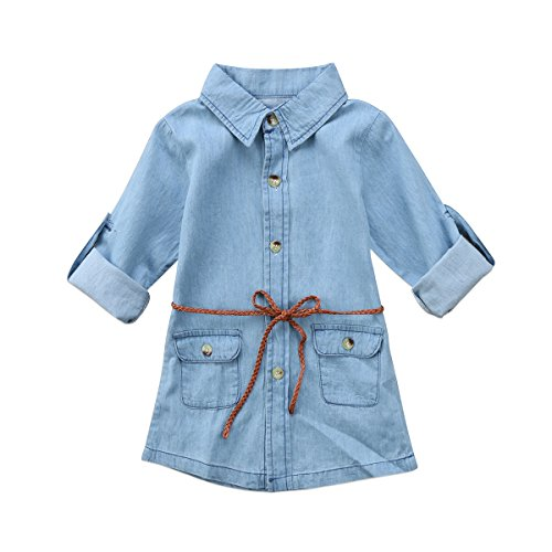 BiggerStore Fashion Kids Toddler Baby Girl Belted Denim Dress Above Knee Length 1-5T (Light Blue, 12-18 Months) ()