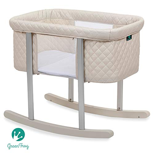 Baby Bassinet Cradle Includes Gentle Rocking Feature, Great for Newborns and Infants Safe Mattress Includes Wheels for Easy Movement High End Washable Fabric Lightweight & Transportable
