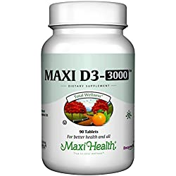 "Maxi Health Natural Vitamin D3 - ""3000 IU"" - Nutrition Supplement - 90 Tablets - Kosher"