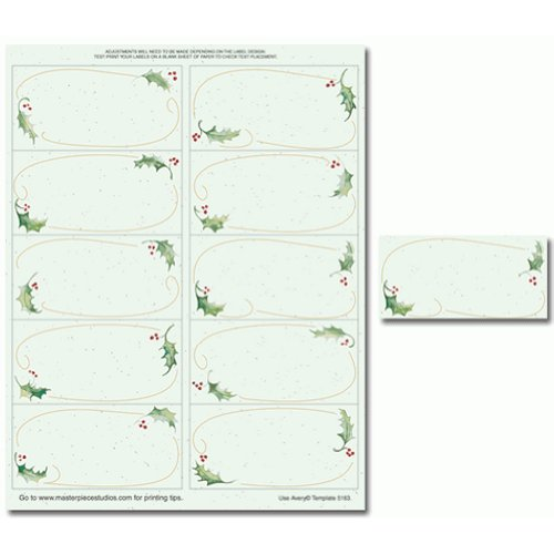 Holly Bunch Mailing Labels - 2in. x 4in. - 50 Pack