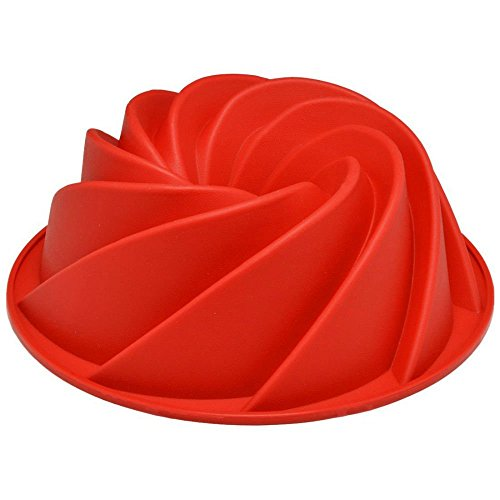 Red Large Spiral shape Bundt Cake Pan Bread Chocolate Bakeware Silicone Mold