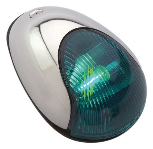 Light 2 Mile Vertical Mount - Attwood Stainless Steel Cover 2-Mile Vertical Mount Navigation Light, Green