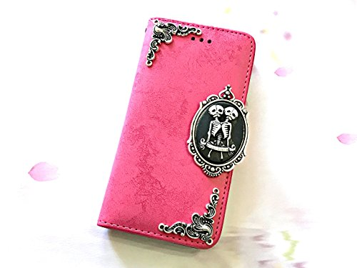 Twin skull phone removable leather wallet case, handmade phone wallet cover for iPhone SE 5 5s 6 6s 7 Plus Samsung Galaxy S8 S8 Plus S7 Edge S6 Edge M…