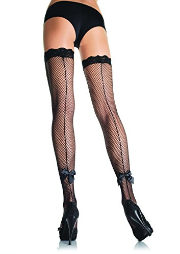 Leg Avenue Women's Fishnet Thigh High with Satin Bow and Backseam, Black, One Size (Thigh High Fishnets)