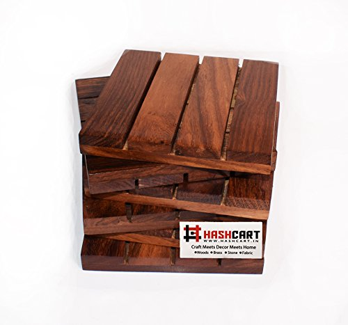 Hashcart Coasters for Drinks-Hot & Cold/Wooden Coaster Sets/Dining, Tea & Coffee Table Decorative Cocktail Coasters in Sheesham Wood | 4x4 inch | Set of 5 from Hashcart
