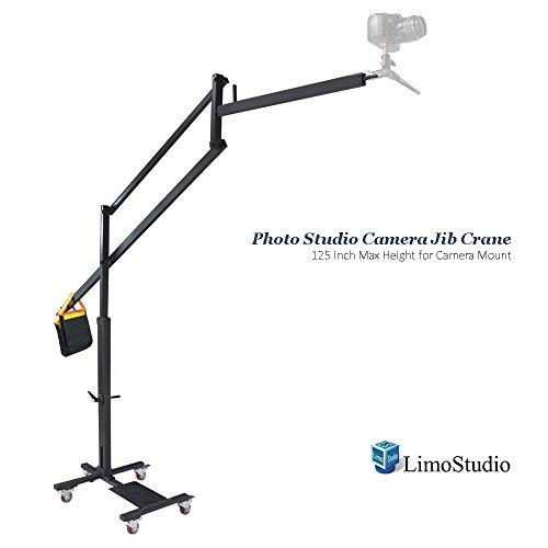 LimoStudio DSLR Camera Camcorder Jib Crane for Photo Video Studio, 125 Inch / 10 Foot. Max Height 5 Wheel Dolly Track Base for Camera Mount with Weight Sand Bag, Photography Studio, AGG2181 by LimoStudio