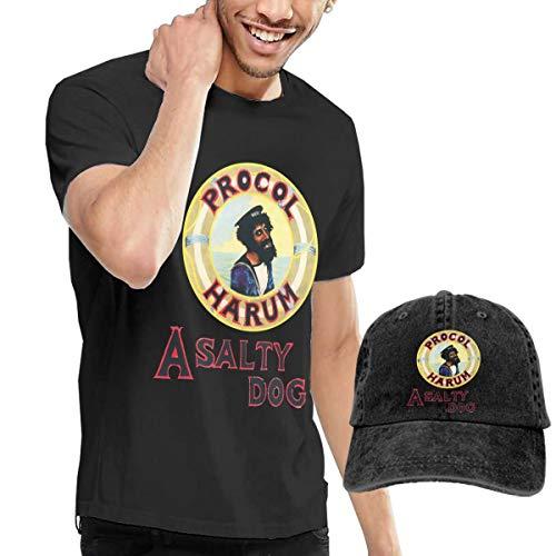 (GabrielR Men's Procol Harum A Salty Dog T-Shirt and Washed Denim Baseball Dad Cap Black L)