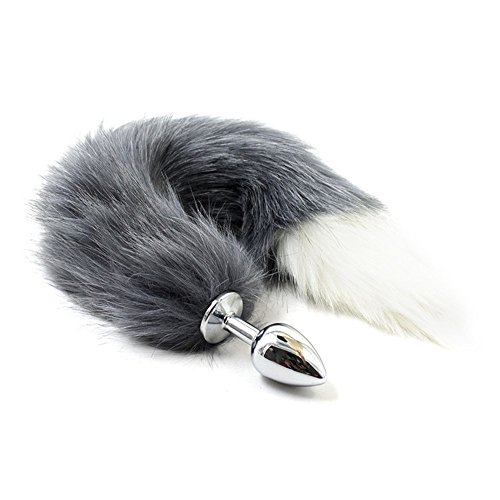 Small stainless steel Faux Fox Tail Anal Butt Plug