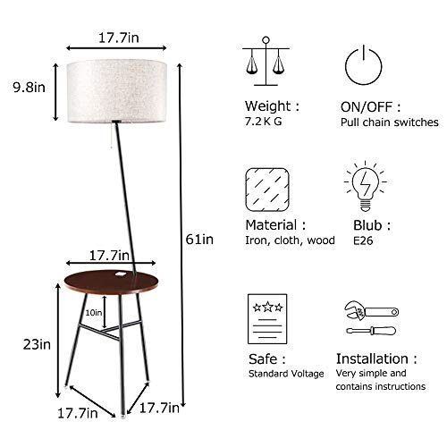 Wellmet Modern Tripod Floor Lamp with Wooden Shelves, Wood Floor Light with Table and USB Ports, Bedside Table for Bedroom- End Table for Living Room Sofa- Reading Light for Relax (Black) by Wellmet (Image #2)