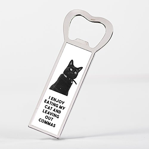 (I Enjoy Eating My Cat Funny Grammar Quote with Cute Cat Photo Bottle Opener Fridge Magnet)