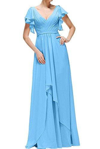 Brautjungfernkleider Ballkleider kurzarm mit Braut Weinrot V La mia ausschnitt Langes Abendkleider Elegant Blau Partykleider Hell wqBw7xYa