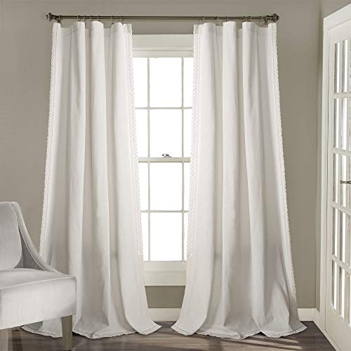(Lush Decor Rosalie Window Curtains Farmhouse, Rustic Style Panel Set for Living, Dining Room, Bedroom (Pair), 108