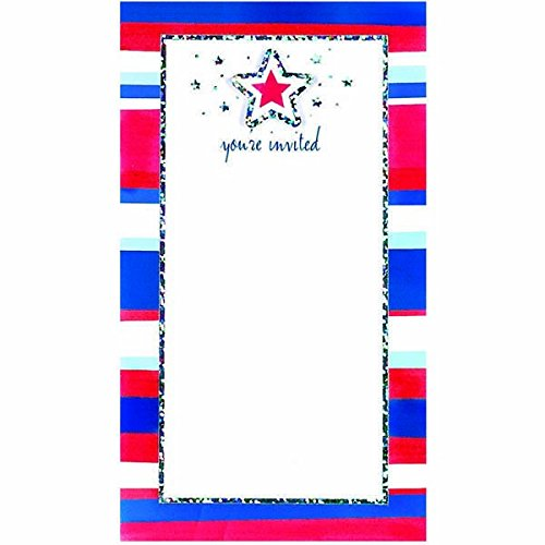 American Summer Small Imprintable Invitations | Pack of 8 | Party Supply ()