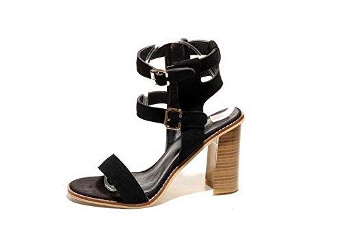 AmoonyFashion Womens Solid Imitated Suede High-Heels Open-Toe Buckle Sandals Black NnBtdGK
