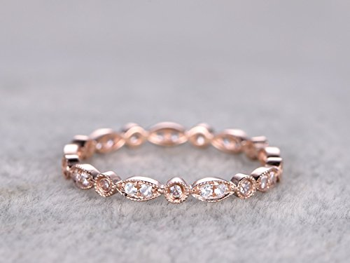 Solid 14k Rose Gold Full Eternity Marquise Milgrain SI I-J Diamond Engagement Wedding Stacking Matching Anniversary Band Vintage Retro Art Deco Size 4-10