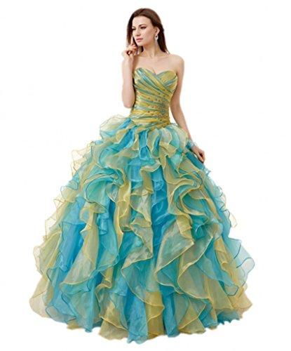 Robes De Mariée De Volants De Femmes Anna Balle Robes De Quinceanera Pour Le Bleu Bal