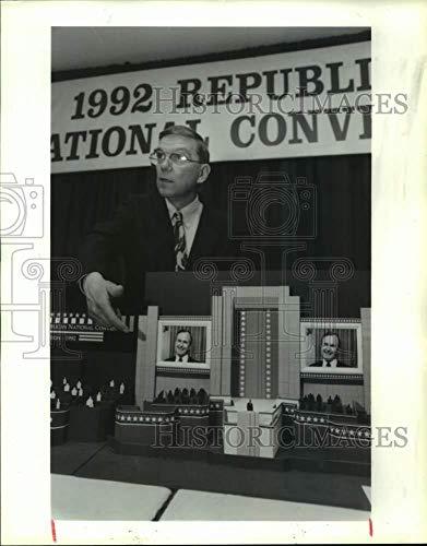 Vintage Photos 1992 Press Photo Mike Miller unveils GOP National Convention Model; ()