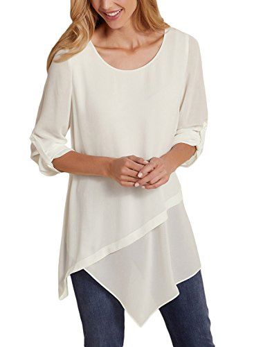 Leindr Women's Loose O Neck 3 4 Cuffed Sleeve Tunic Top Asymmetrical Hem T-Shirt Chiffon Blouse