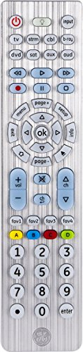 GE 30758 8-Device Universal Remote Control, Soft Blue LED Fully Backlit, Designer Series, Brushed Nickel, Sound Bar and Streaming Media Player Compatible, Preprogrammed for Roku and Samsung TV's
