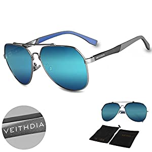 VEITHDIA 3598 Adjustable HD Polarized Aviator Sunglasses for Fishing Driving (Silver, Ice Blue)