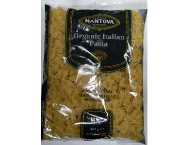 Mantova Organic Italian Farfalle, 1 lb (Pack of 4) really biological product designed for those consumers who take care of their health and of the environmental defense. Organic durum wheat semolina.