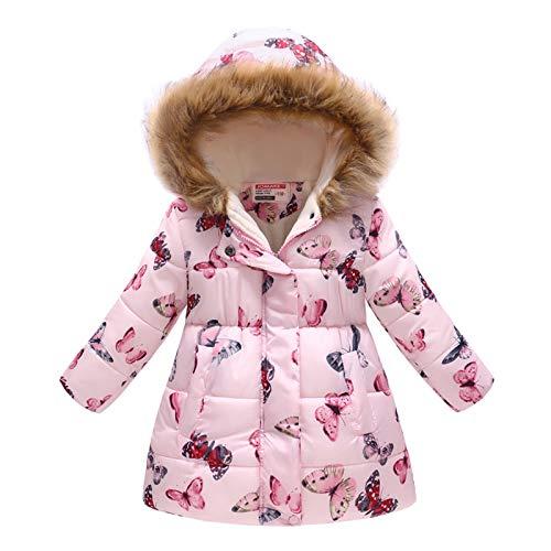 Haokaini Winter warme jas voor 3-12 jaar baby meisje jongen bloemen capuchon winddicht jack met imitatiebont katoenen…