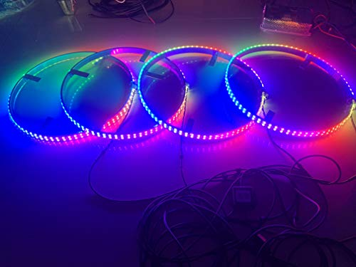 Sando Tech Dream Chasing Color Flow IP68 Waterproof Double Row 300Leds Brightest Strobe Led Wheel Ring Lights Rim Lights Car Tire Lights Blue-Tooth APP Control Multi-Colors - 4 Lights