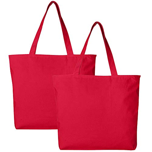 Pack of 2 Heavy Duty Canvas Tote Bags with Zipper Top and Zipper Inside Pockets