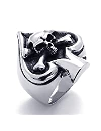 TEMEGO Jewelry Mens Stainless Steel Ring, Vintage Gothic Skull Ace of Spades Band, Black Silver