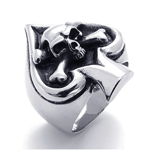 (TEMEGO Ace Rings for Men,Stainless Steel Ace of Spades Vintage Biker Gothic Skull Ring,Size 8)